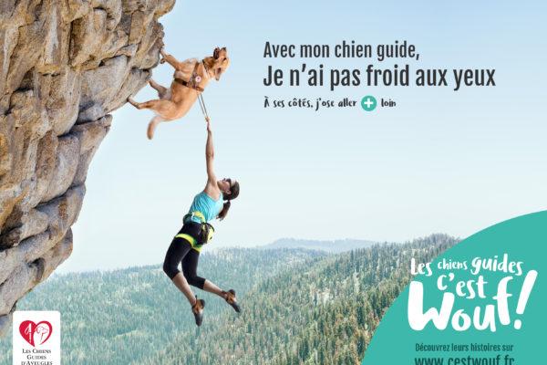 """visuel de la campagne : un chien guide escalade une paroi rocheuse. Son maître tient le harnais, les jambes dans le vide avec comme texte """"avec mon chien guide, je n'ai pas froid aux yeux. J'ose aller plus loin""""."""