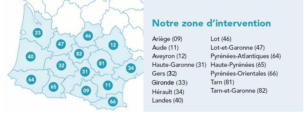 carte du grand Sud ouest faisant apparaître les 15 départements de la zone d'action de l'association de Bordeaux à Montpellier.