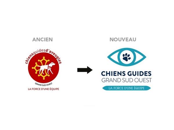 """A droite, l'ancien logo de l'association avec la croix occitane en jaune sur fond rouge et le chien blanc au centre. A gauche, le nouveau logo avec un oeil stylisé en bleu clair. Au centre, à la place de l'iris, se trouve une pate de chien bleu marine. En dessous, il est noté """"Chiens Guides Grand Sud Ouest"""" puis """"La force d'une équipe""""."""