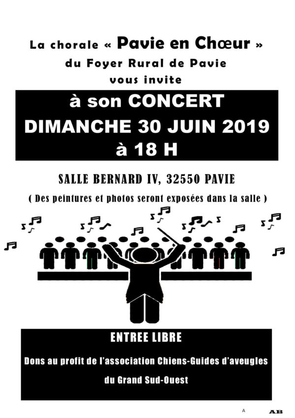 Affiche du concert de la Chorale de Pavie