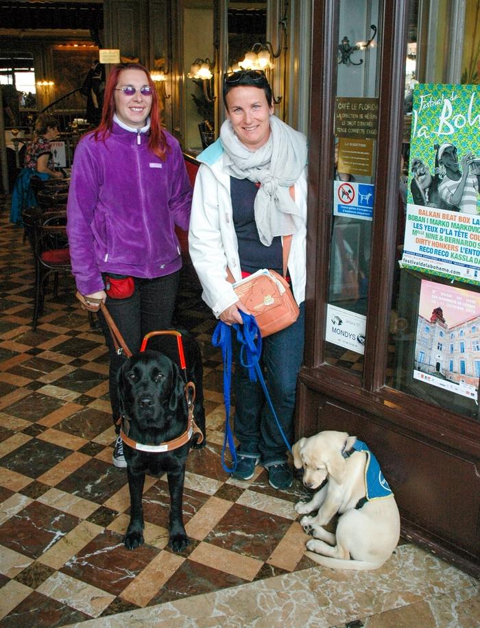 """Une maîtresse déficiente visuelle accompagnée de son chien guide, un labrador noir, et une famille d'accueil avec son chiot élève chien guide devant la porte d'un bar qui porte l'autocollant """"autorisation d'entrée pour les chiens d'assistance"""""""