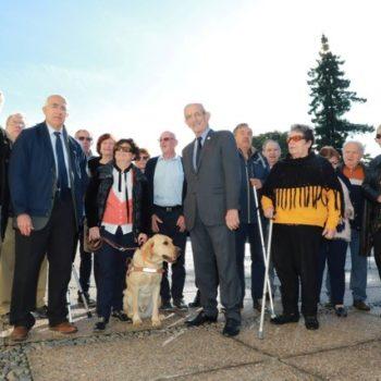 Les présidents et membres de l'AVH de Dax et notre Président entourant Madame Tailleur et son chien guide Nigel