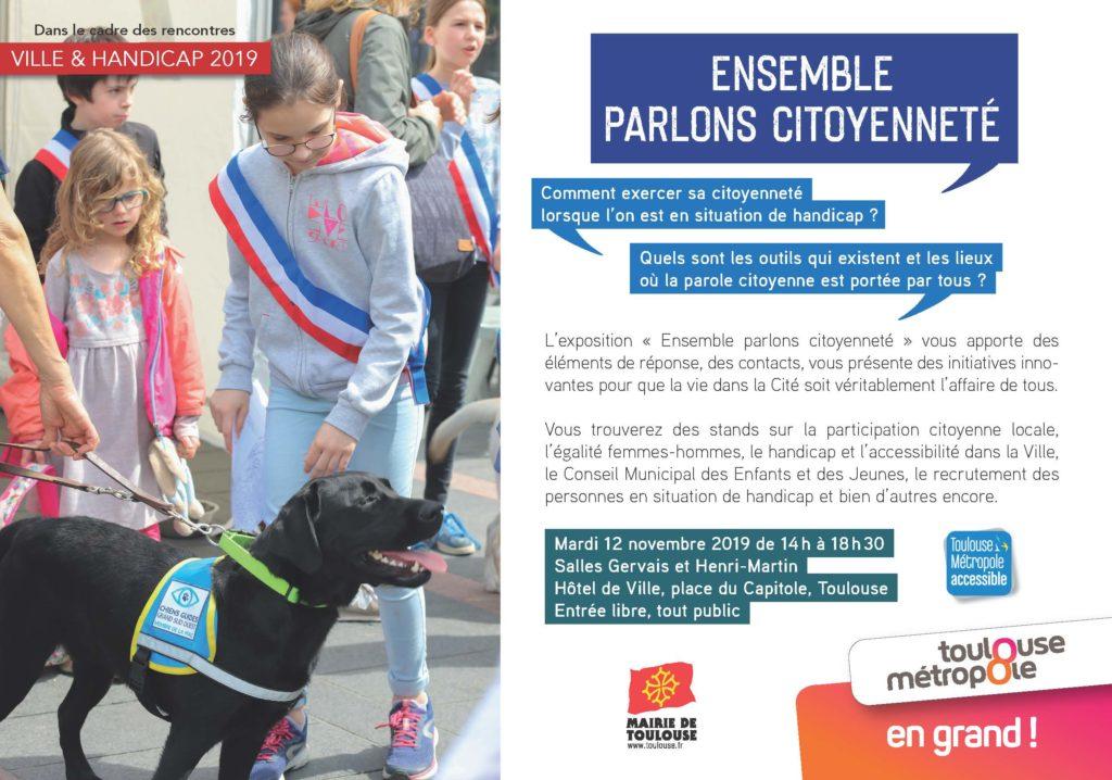 """Visuel de l'exposition """"Ensemble, parlons citoyenneté"""" avec la présence d'un élève chien guide sur la photo"""