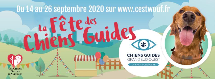 Affiche fête du chien guide : du 14 au 26 septembre, fêtez les chiens guides sur cestwouf.fr