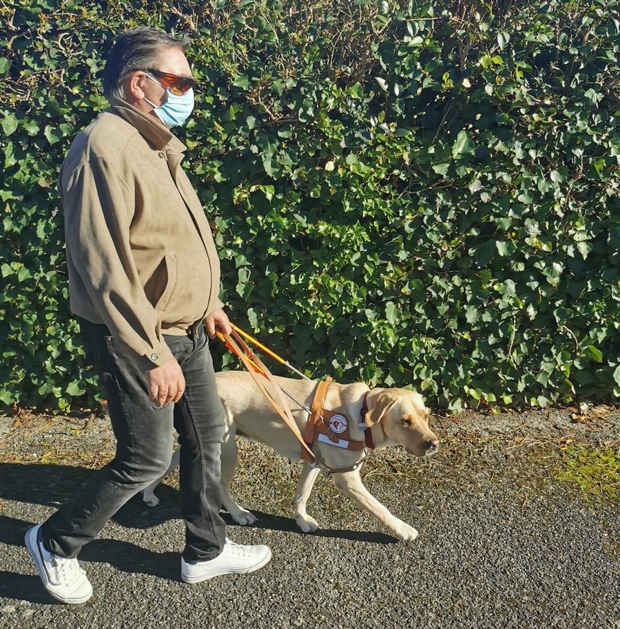 Mr Carenou et Oasis marchant sur le trottoir