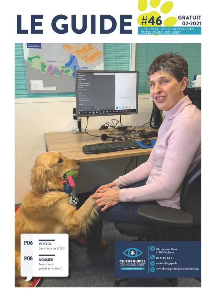 Guide 46 : couverture du magazine avec Pascale et Prisca, son chien guide
