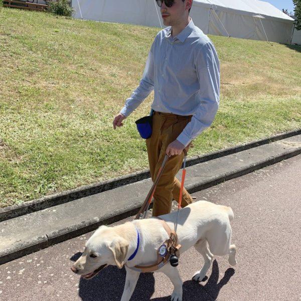 Mr Boussiron et Phénix au harnais marchant sur le trottoir