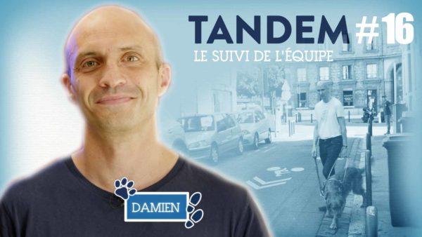 vignette de la vidéo avec le portrait de Damien et une photo du suivi de Jérôme et Olaf durant un contournement de poubelle